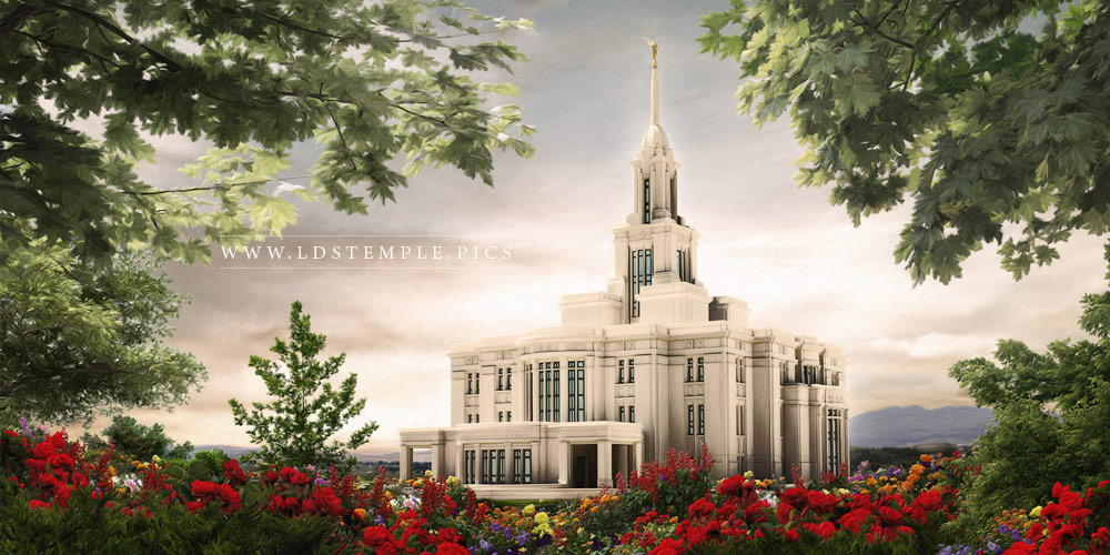Payson Temple Sunset Painting Print