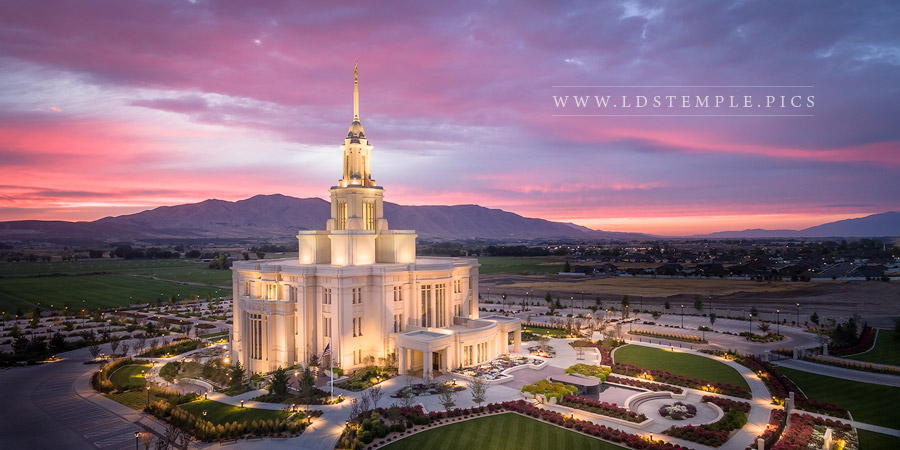 Payson Temple Twilight From On High Print