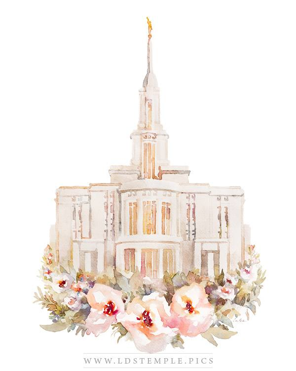 Payson Temple Watercolor Painting Print