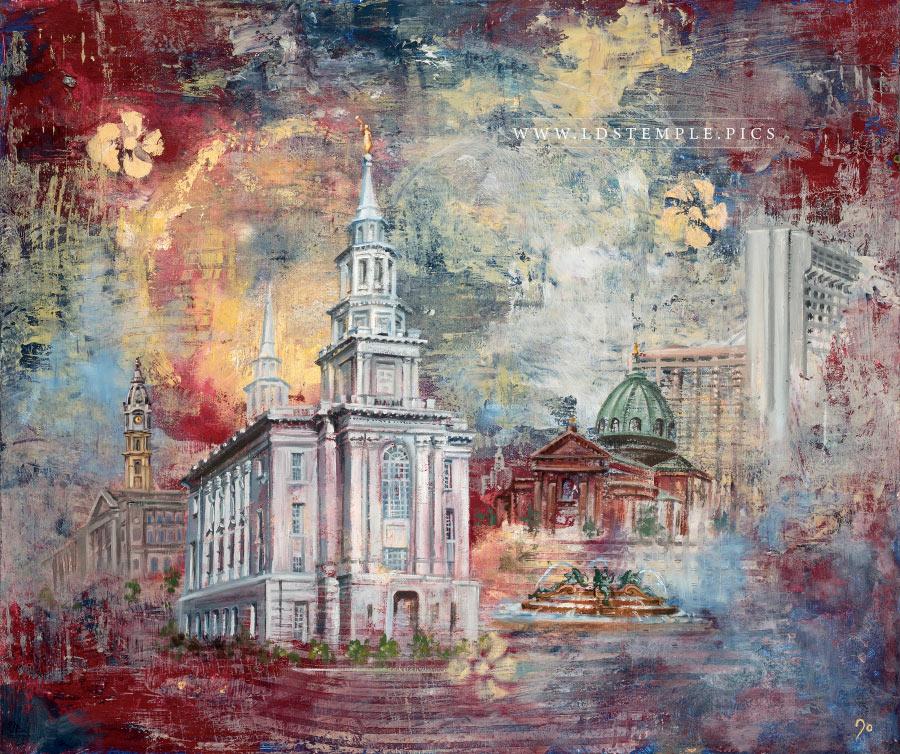 Philadelphia Temple Painting Print