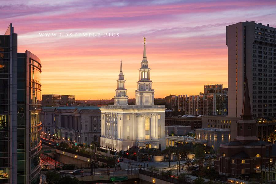 Philadelphia Temple Distant Sunset Print