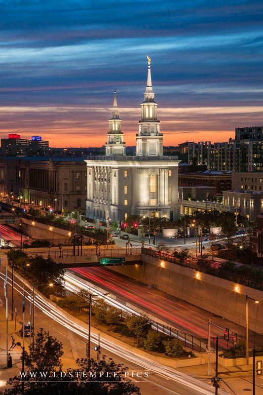 Philadelphia Temple Twilight in the City Print