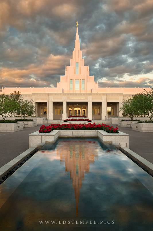 Phoenix Temple Reflecting Pool Sunrise Print