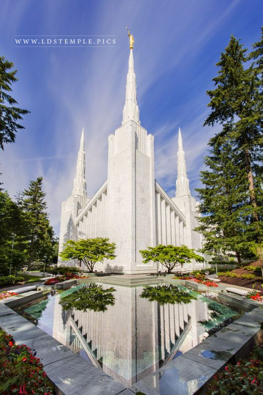 Portland Oregon Temple Morning Vertical Print