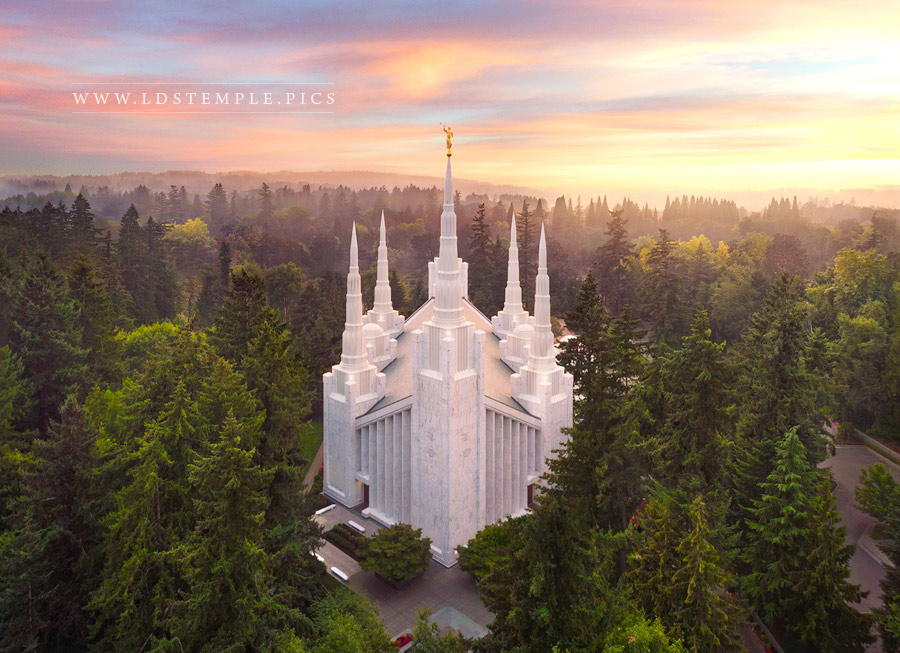 Portland Temple Aerial Sunset Print