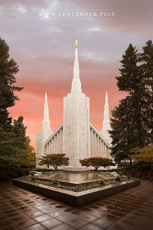 Portland Temple Fall Sunset Print