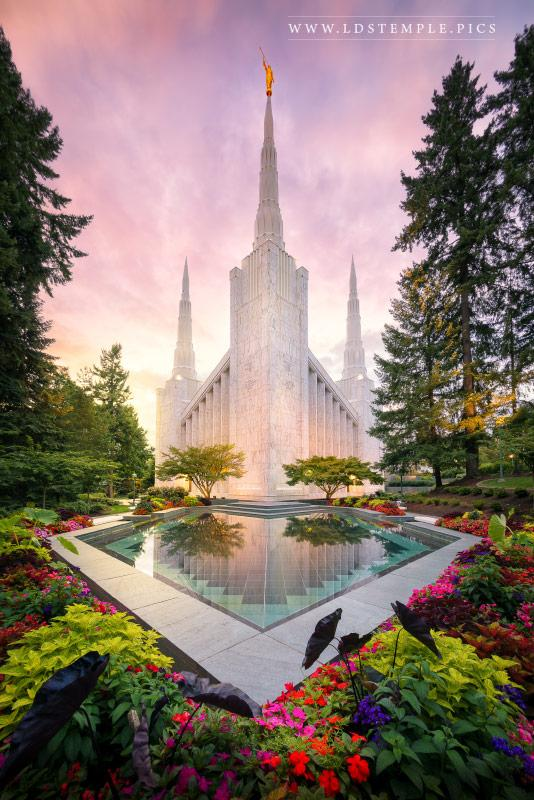 Portland Temple Pastel Sunset Print