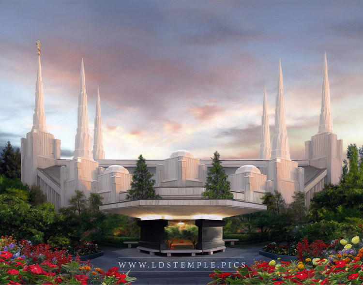 Portland Temple Summer Sunset Painting Print