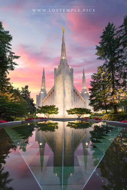 Portland Temple Sunset Reflection Print
