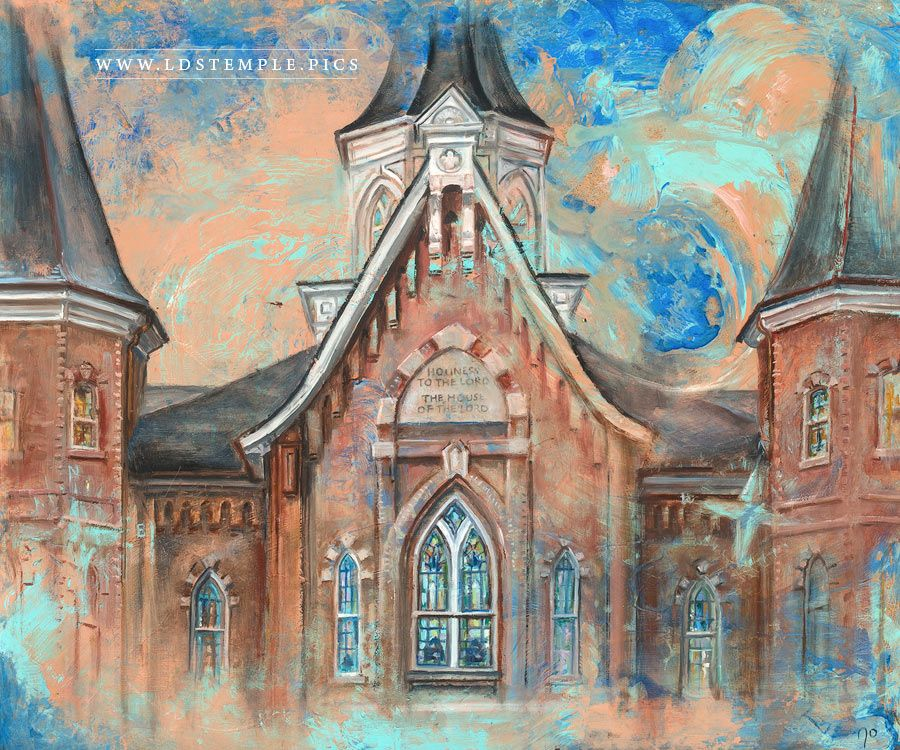 Provo City Center Temple Front Colors Painting Print
