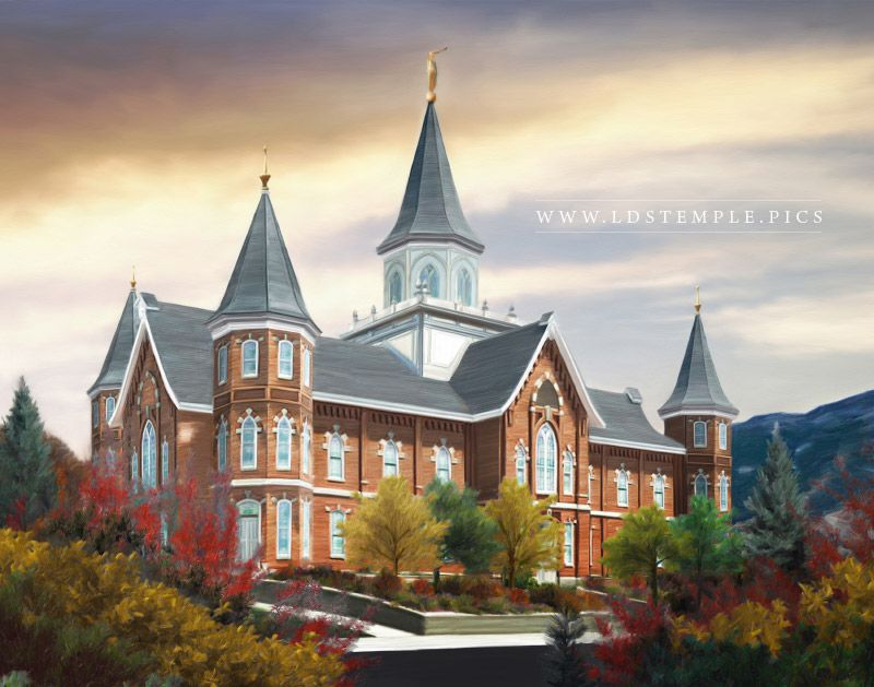 Provo City Center Temple Autumn Morning Painting Print