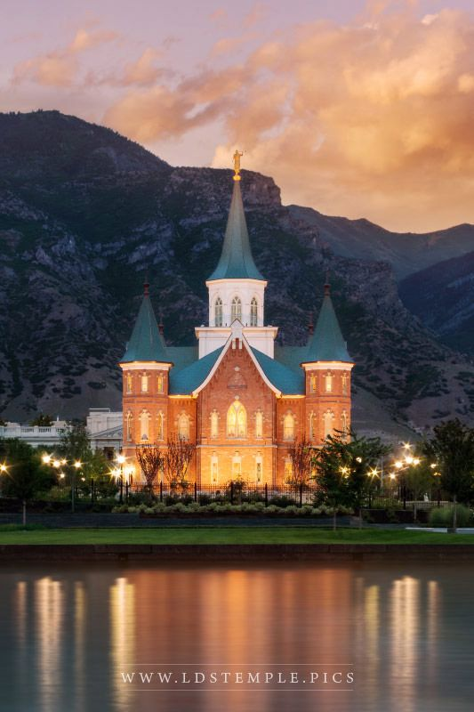Provo City Center Temple Sunset Reflection Vertical Print
