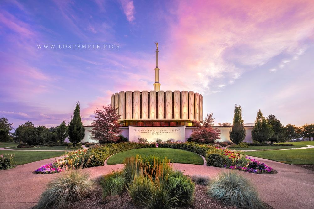 Provo Temple Garden Sunset Print