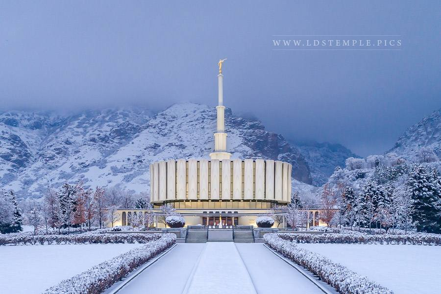 Provo Temple Snowy Entrance Print