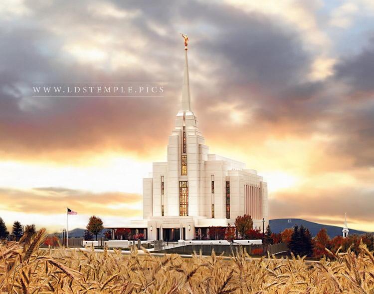 Rexburg Temple – Fall Sunset Painting