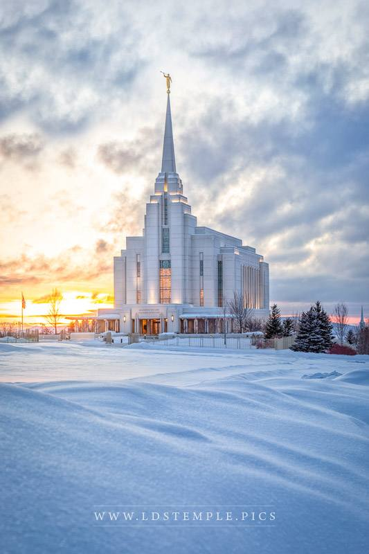 Rexburg Temple Snowy Sunset Print