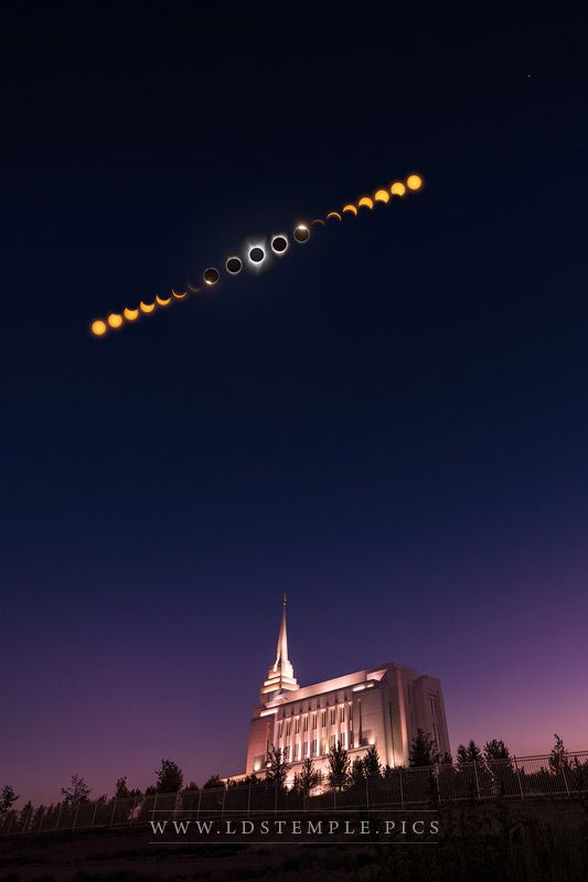 Rexburg Temple & Total Eclipse Phases