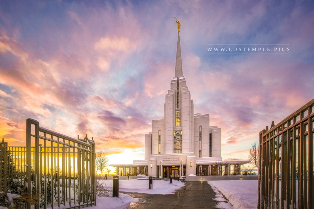 Rexburg Temple Winter Gates Print