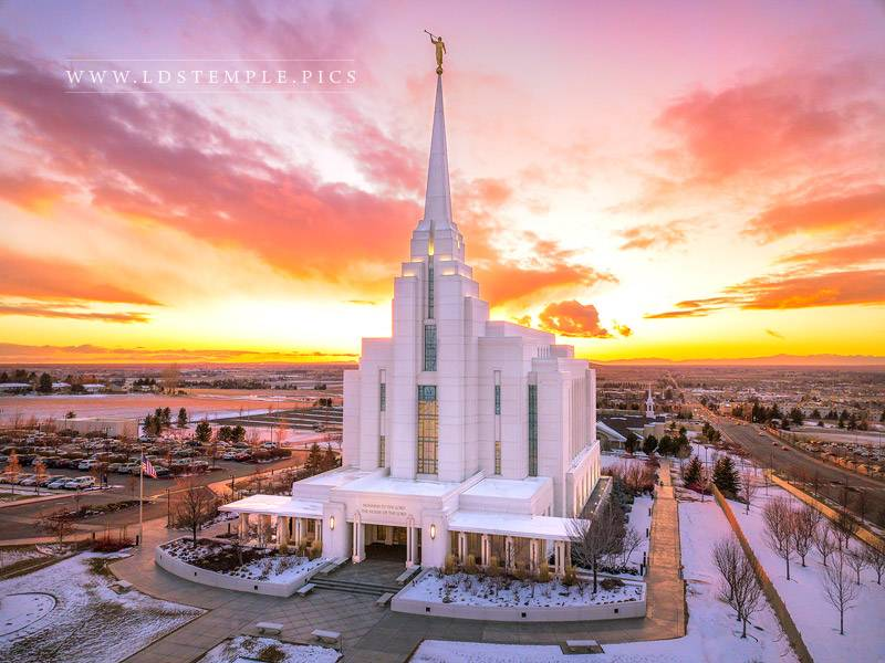 Rexburg Temple – Winter Sunset Aerial