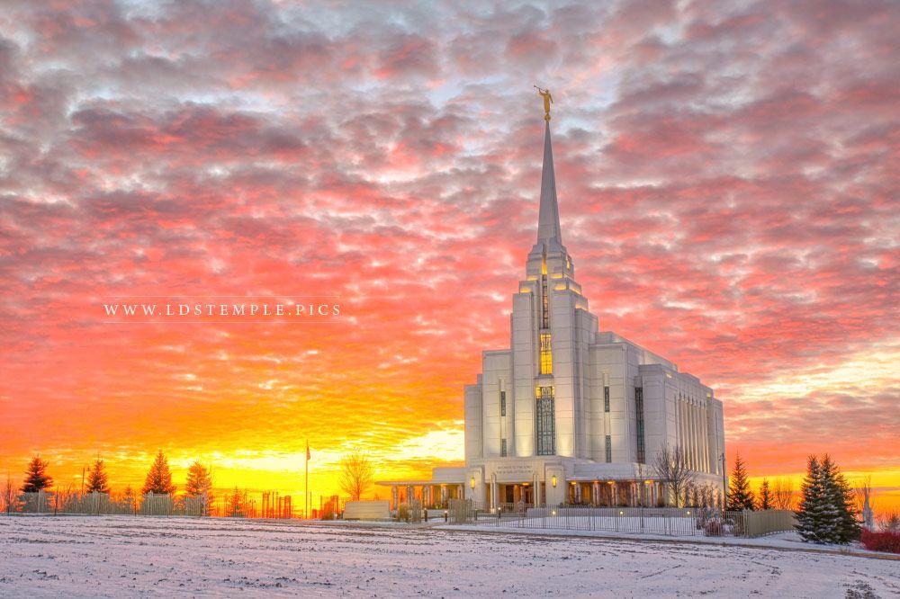 Rexburg Temple Winter Sunset Print