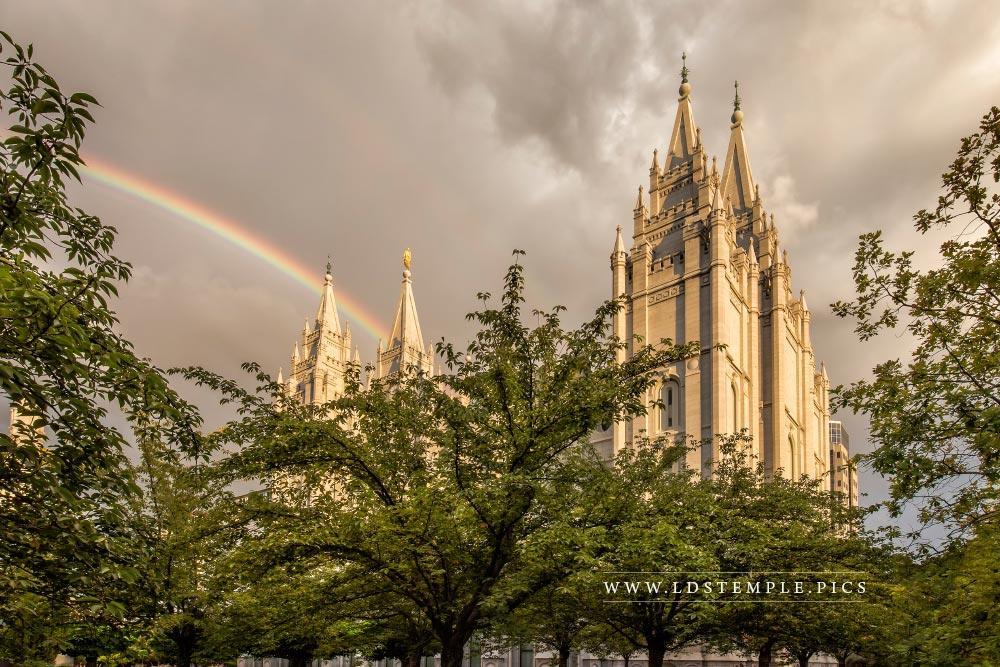 Salt Lake Temple Afternoon Rainbow Print