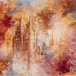 salt-lake-temple-autumn-leaves-cold-wax-oil-painting