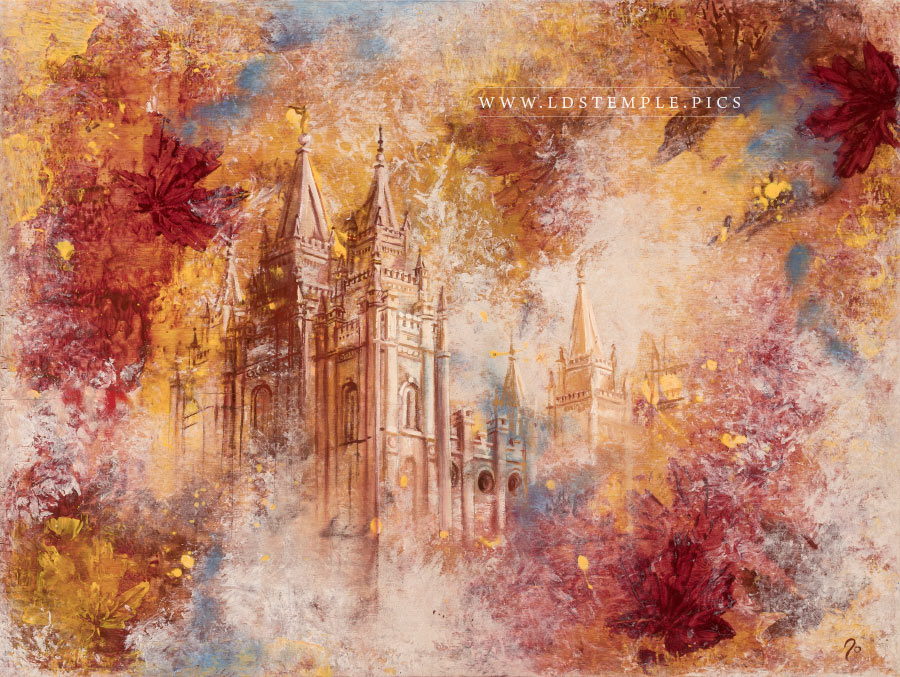 Salt Lake Temple Autumn Leaves Painting Print