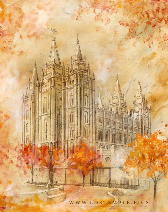 Salt Lake Temple Autumn Grounds Painting Print