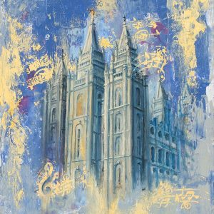 salt-lake-temple-blue-and-gold-fine-art-cold-wax-oil-painting