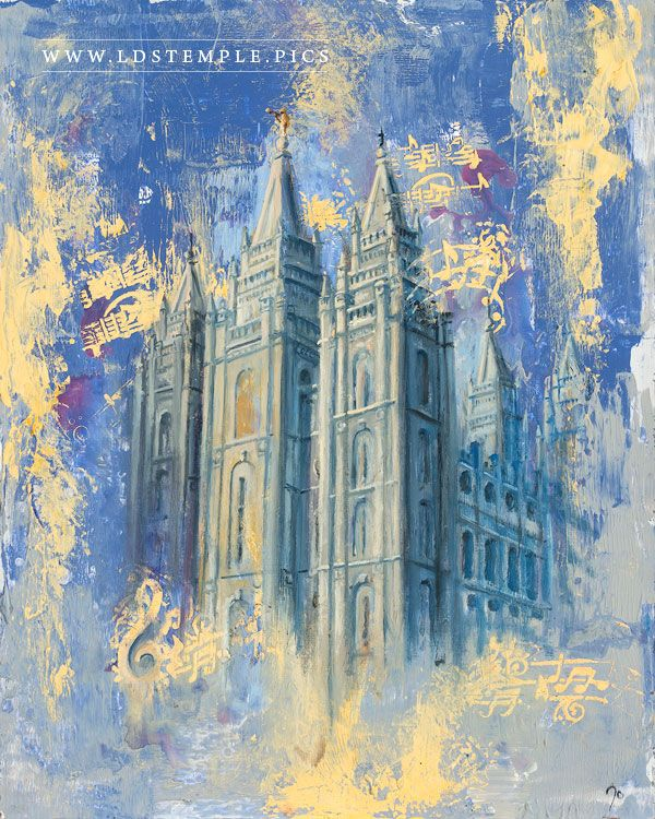 Salt Lake Temple Blue Gold Painting