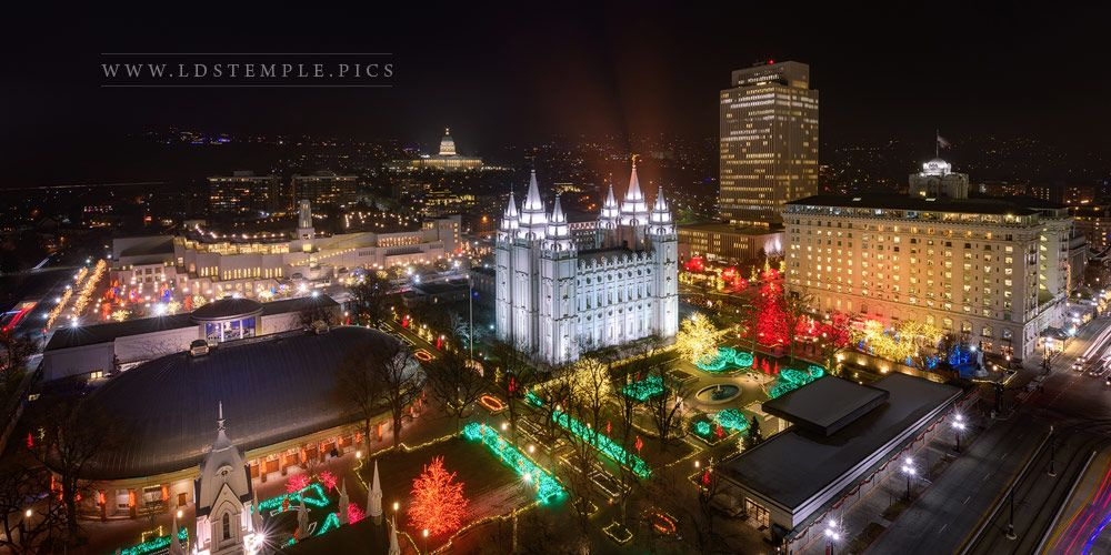 Salt Lake Temple Christmas at Temple Square From On High Print