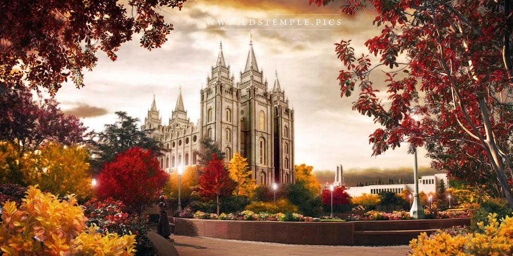 Salt Lake Temple Colors Of Autumn Painting Print