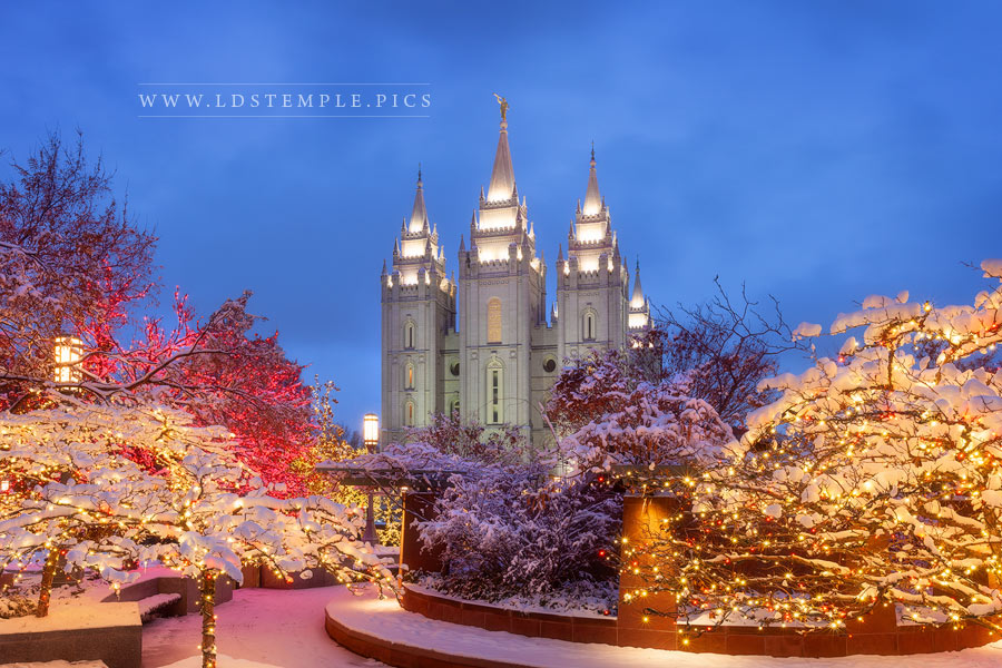 Salt Lake Temple December Lights Print