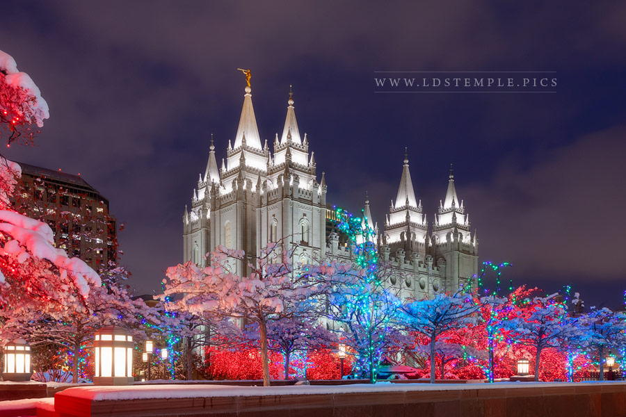 Salt Lake Temple December Night Print