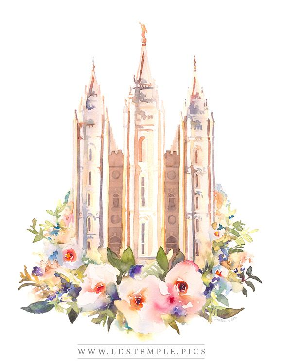 Salt Lake Temple Watercolor Painting Floral Print