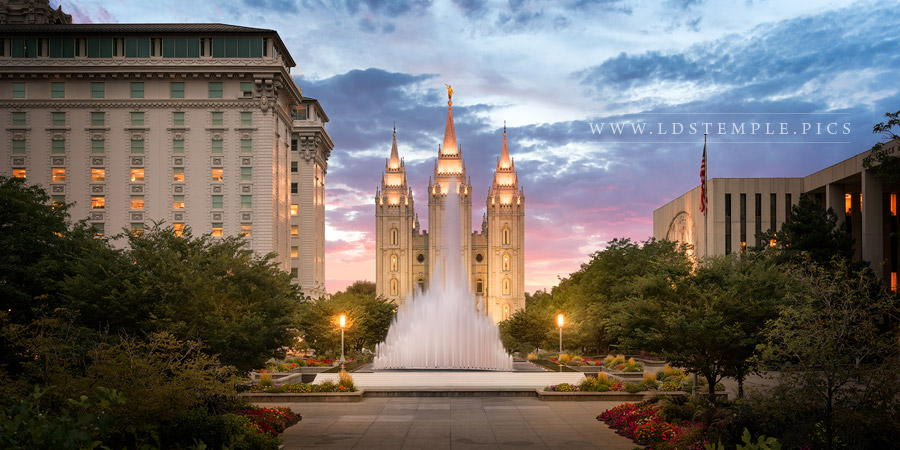 Salt Lake Temple Fountain Sunset Print