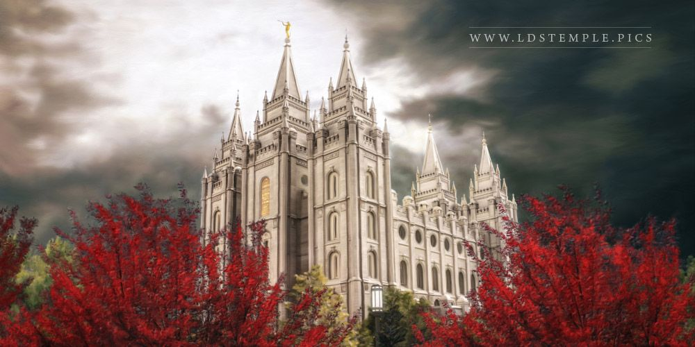Salt Lake Temple A Light in the Storm Panoramic Painting Print