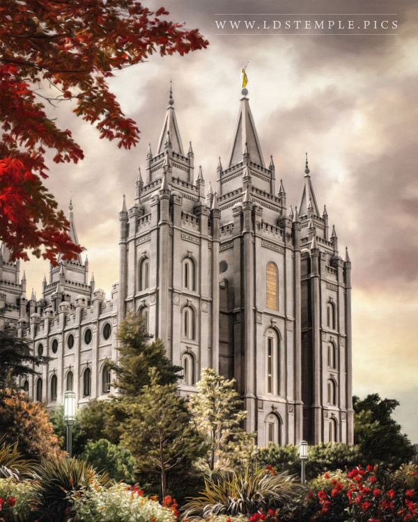 Salt Lake Temple Autumn Light Painting Print