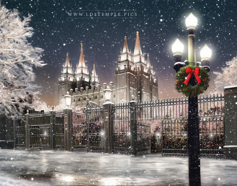 Salt Lake Temple Christmas Time Painting Print