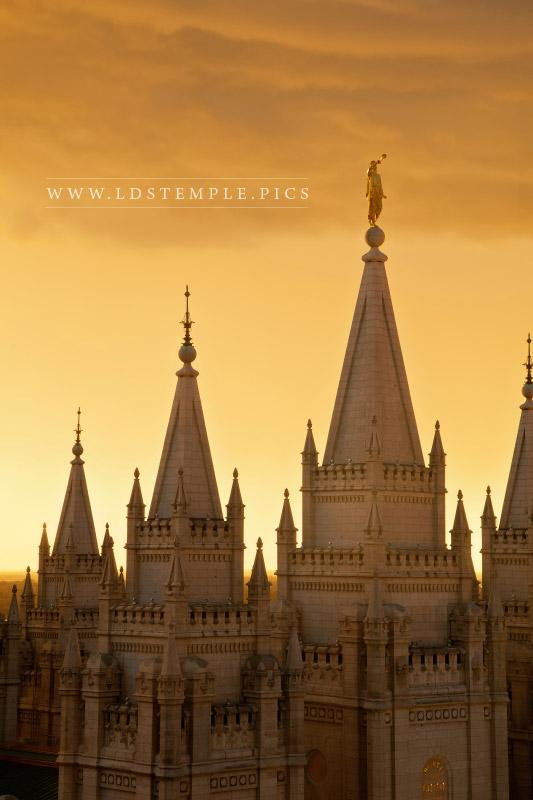 Salt Lake Temple Spires & Sunset - LDS Temple Pictures Real Snowflake