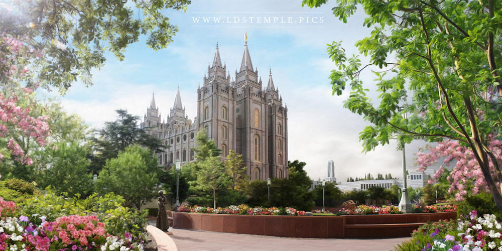 Salt Lake Temple Spring Blossoms Painting Print