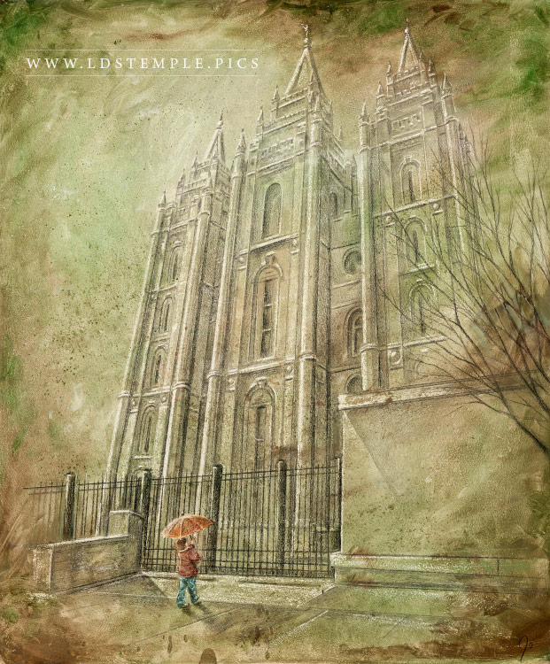 Salt Lake Temple Spring Child Painting Print