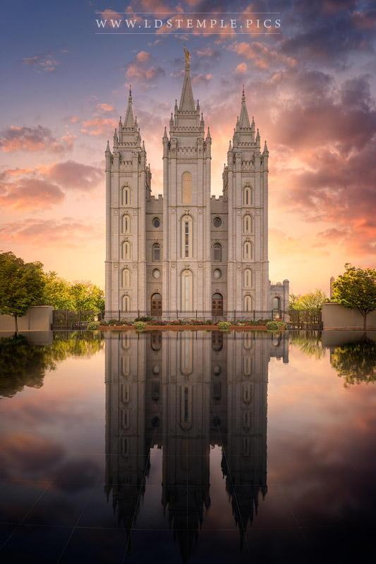Salt Lake Temple Sunset Reflections Print