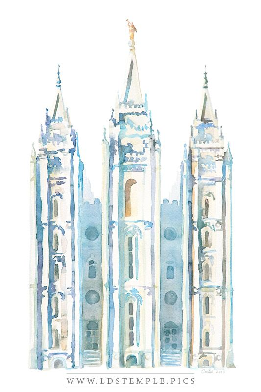 725a4f3cee53 Salt Lake Temple Watercolor Painting Blue - LDS Temple Pictures