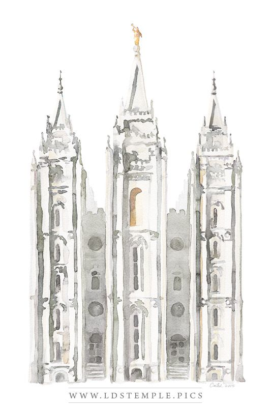 Salt Lake Temple Watercolor Painting Gray Print