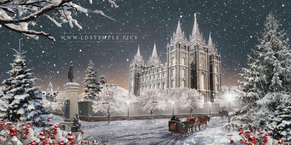 Salt Lake Temple Winter Sled Painting Print