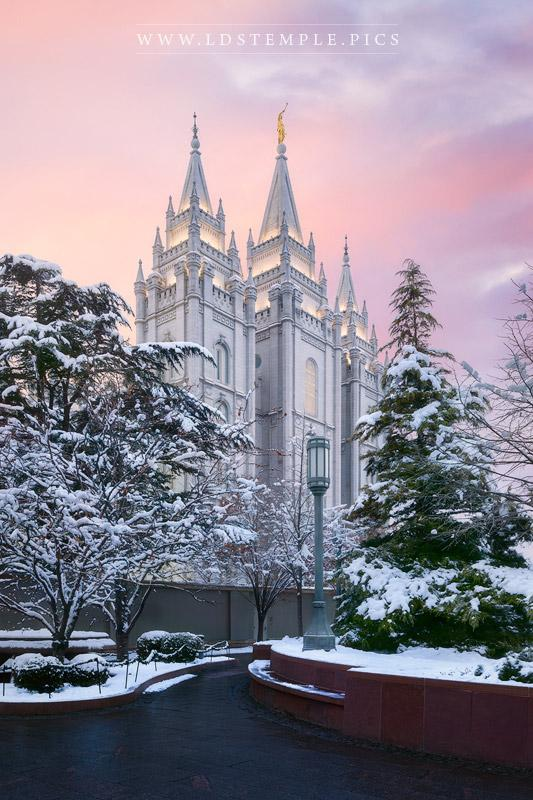 Salt Lake Temple Winter Sunset Print
