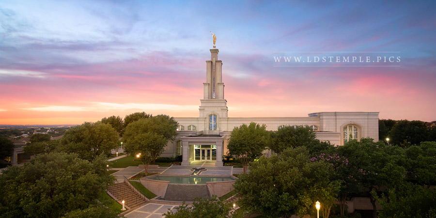 San Antonio Temple Summer Sunset Aerial Print