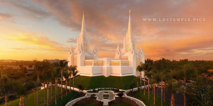 San Diego Temple Aerial Autumn Sunset Panoramic Lds
