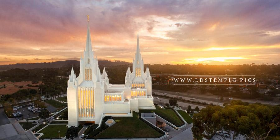 San Diego Temple Aerial Sunset Southwest Panoramic Print